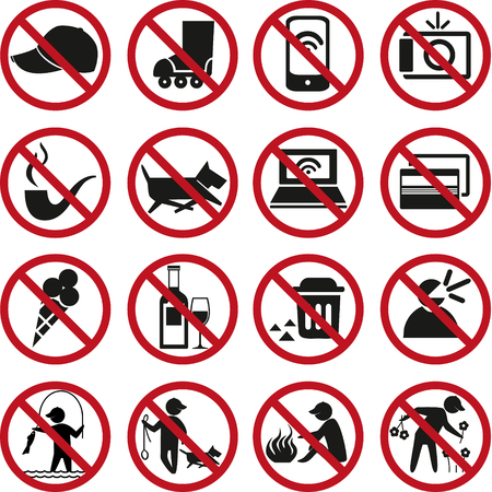pictogram attention: Set of prohibited signs. Illustration
