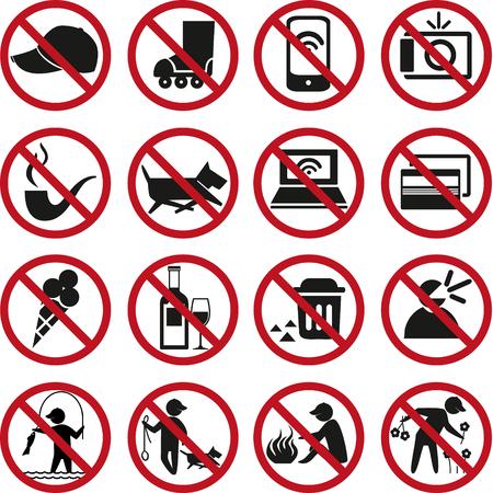 prohibited: Set of prohibited signs. Illustration