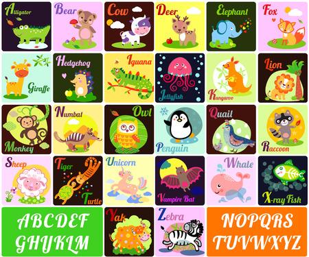 animales del zoologico: Una ilustración vectorial de los animales del alfabeto de la A a la Z