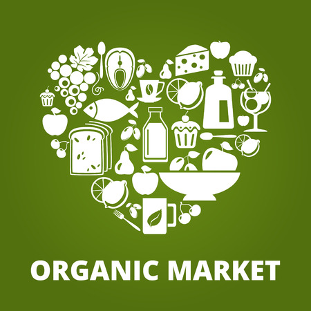 Heart shape with organic food icons: vegetables, fruits, fish, tea, coffee Çizim