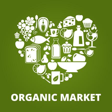 Hjärta form med ekologiska livsmedel ikoner: grönsaker, frukt, fisk, te, kaffe Illustration