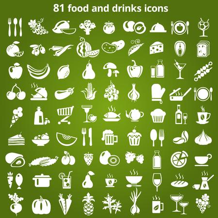 alimentos saludables: Conjunto de iconos de alimentos y bebidas. Ilustración del vector.