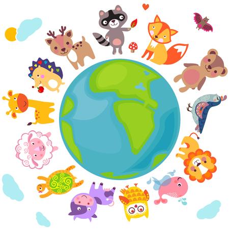 Cute animals walking around globe, Save animals emblem, animal planet, animals world. Vectores