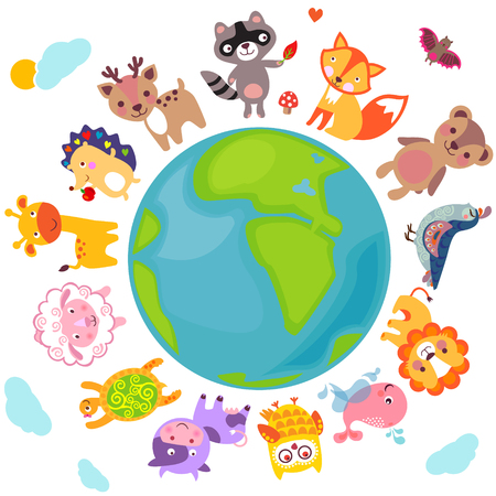 Cute animals walking around globe, Save animals emblem, animal planet, animals world. 向量圖像