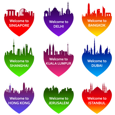 심장 모양의 구 도시 스카이 라인의 설정. 벡터 일러스트 레이 션. 방콕, 쿠알라 룸푸르, 싱가포르, 뉴 델리, 두바이, 상하이, 예루살렘, 이스탄불, 홍콩