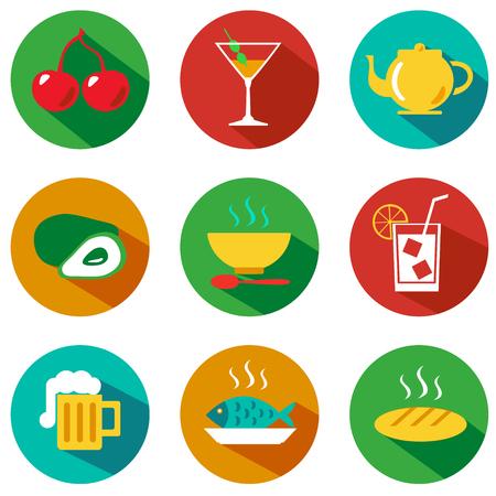 食べ物や飲み物のアイコンのセットです。ベクトルの図。流行に敏感なスタイル  イラスト・ベクター素材