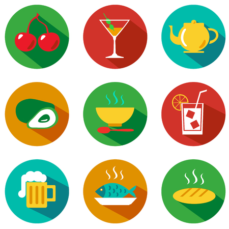 Set of food and drinks icons. Vector illustration. Hipster style