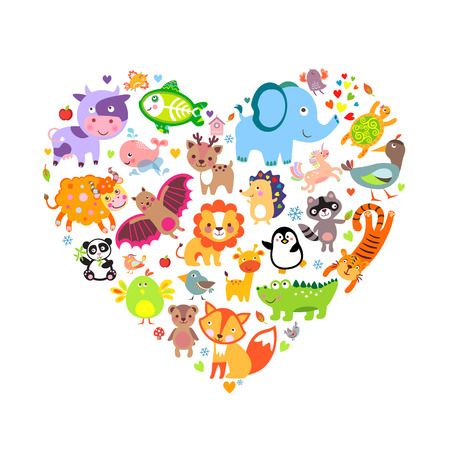 I love animals concept, Heart, Vector Illustration.