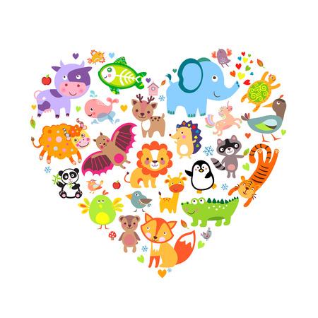 나는 동물 개념, 심장, 벡터 일러스트 레이 션을 사랑 해요.
