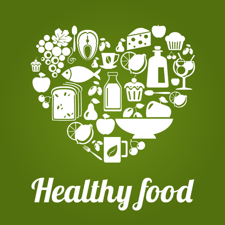 еда: концепция здорового питания, винтажный стиль, форма сердца. векторные иллюстрации