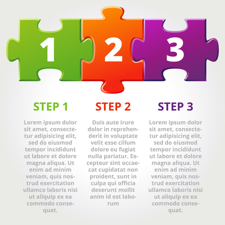 One two three progress icons for three steps. Vector illustration Vectores