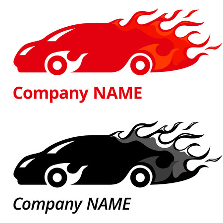Vector illustration of red sport car with flames. Company name logo concept.