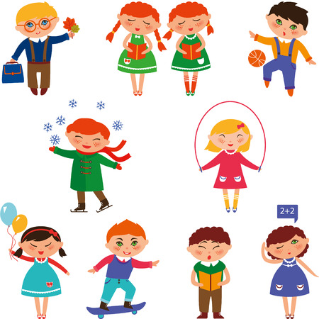 boys playing: Cute children skating, playing with the ball, reading, singing, skateboarding and studying. Cute kids illustration. Cute children illustration. Boys and girls playing