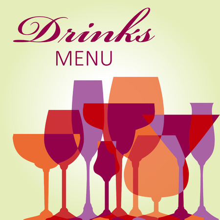 wine bottles: Drinks menu design - vector illustration 10 EPS