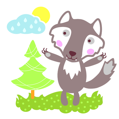 lone: Cute vector wolf. Wild animal. Cartoon wolf.