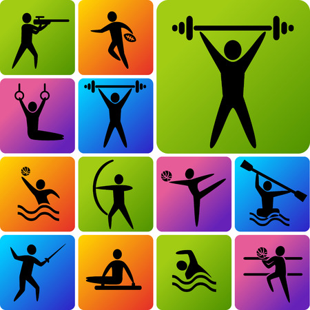 Set of sports icons: shooting, rugby, gymnastics, American, football, power lifting, kayaking, canoeing, barbell, weightlifting, water polo, archery, fencing, swimming, volleyball Ilustração
