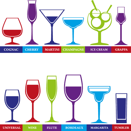 Tumblers set for alcohol drinks, cocktails and ice cream. Wine, martini, cognac, cherry, champagne, grappa glasses. Illustration