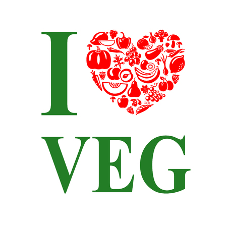 나는 vegeterian, 야채를 좋아합니다. 채식 음식 심장 모양입니다.