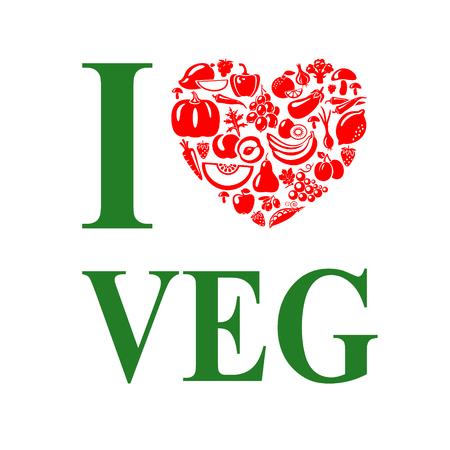 vegan: I love vegetables,vegeterian. Vegetarian food heart shape.