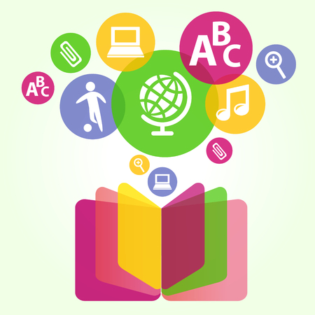 book concept: Book sign. Book symbol. Vector illustration of open book and education icons. The concept of modern education and science. Handbook, textbook Illustration