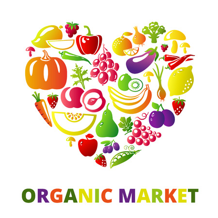 Organic food concept. Heart shape with organic vegetables and fruits icons. Vector illustration Illustration