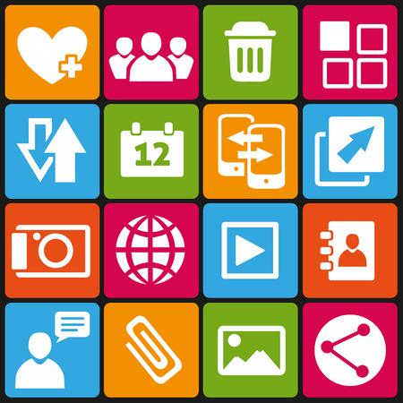 social web: Set of 16 web and social media icons. Illustration