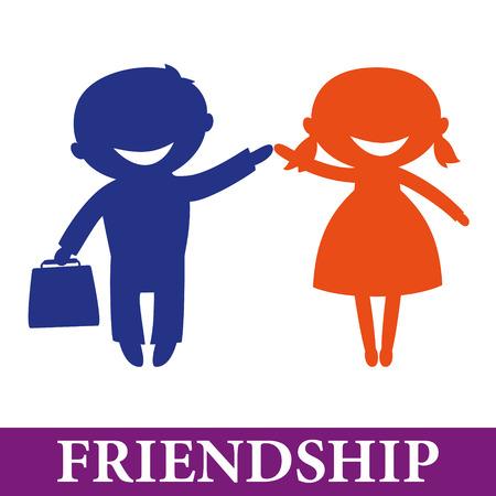Friendship: Happy children hand in hand. Boy and girl Çizim