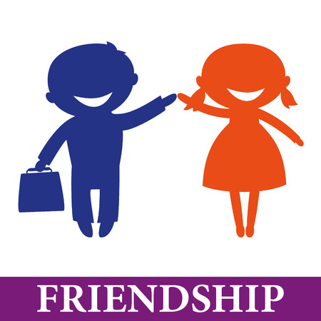 similarity: Friendship: Happy children hand in hand. Boy and girl Illustration