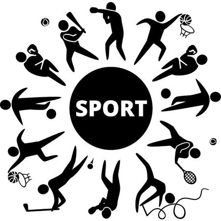 Wereld van de sport. Vector illustratie van sport pictogrammen: basketbal; voetbal; tennis; boksen; worstelen; golf; honkbal; gymnastiek;