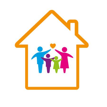 convivencia familiar: Familia logotipo de concepto.