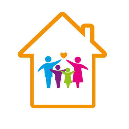 buy house: Family logo concept. Illustration