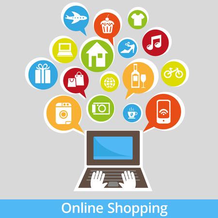 인터넷과 온라인 쇼핑 개념입니다. 벡터 일러스트 레이 션. 레트로 스타일의 디자인