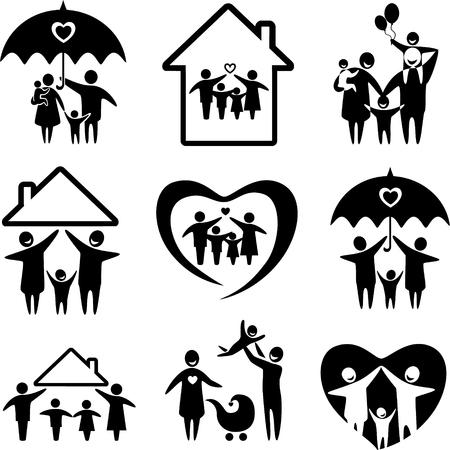 Grote reeks van de familie pictogrammen. Gelukkige familie concepten: vader, moeder, dochter en zoon samen. Stock Illustratie