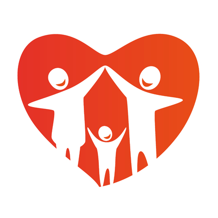 Happy family concept: father, mother and Child together. Heart symbol