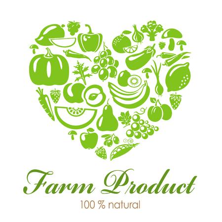 유기농 식품 아이콘으로 심장 모양입니다. 야채와 과일