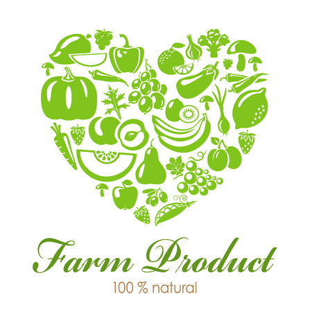 Heart shape with organic food icons. Vegetables and fruits