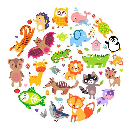동물: 동물의 상징, 동물 행성, 동물의 세계를 저장합니다. 원 모양의 귀여운 동물 일러스트