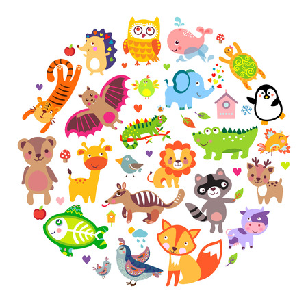 lion cartoon: Save animals emblem, animal planet, animals world. Cute animals in a circle shape Illustration