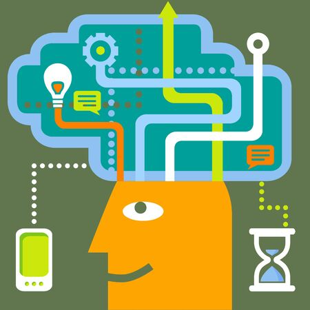 phone time: Vector illustration of business plan. Planning. Time, mobile phone, clock, speech bubbles, human head, arrow,  thinking