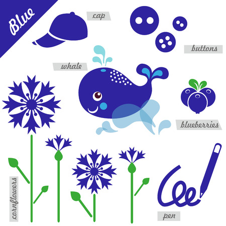 examples: set of images as examples of Blue color, for kids, educational purposes, illustrations, page