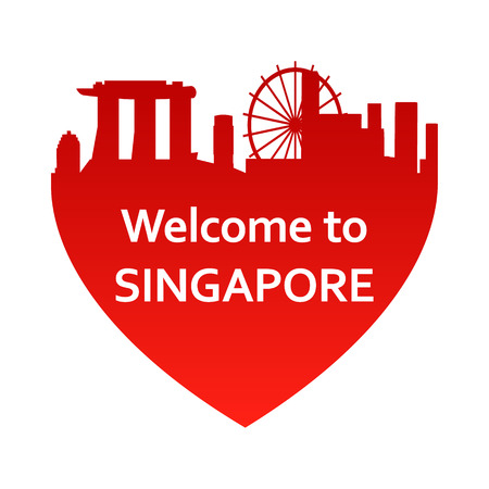 singapore cityscape: Vector illustration of Singapore skyline in heart shape. Welcome to Singapore