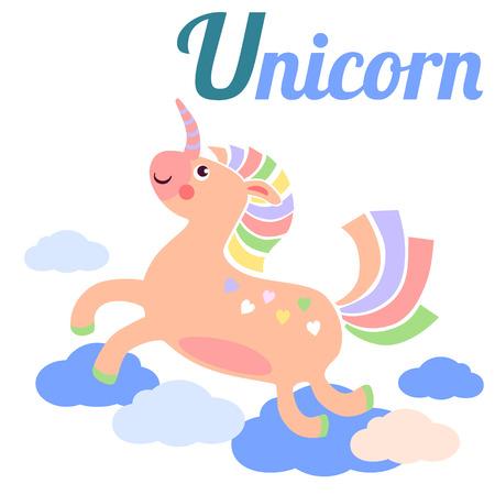 latin alphabet: Cute animal alphabet for ABC book. Vector illustration of cartoon unicorn. U letter for the Unicorn
