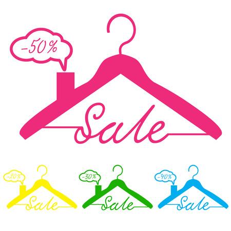 coat hanger: Coat Hanger icon, vector illustration, sale, minus fifty percent, thirty percent, twenty percent, roof shape, Illustration