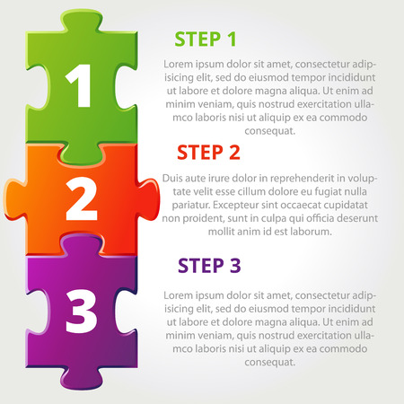 piezas de puzzle: Uno dos tres iconos de progreso para los tres pasos. Ilustración vectorial