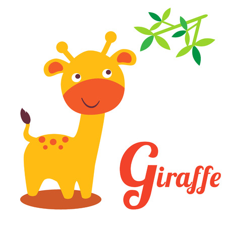 children art: Cute animal alphabet. G letter. Cute cartoon Giraffe. Alphabet design in a colorful style.