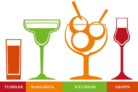 helados con palito: Vasos establecidos para cócteles y helados.