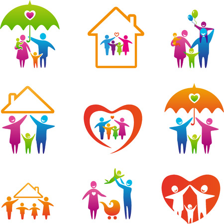 familias unidas: Gran conjunto de iconos de la familia. Conceptos familia feliz: padre, madre, hija e hijo juntos.