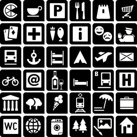 Set of 36 icons for tourist map. Illustration