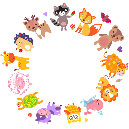 around: Cute animals walking around globe, Save animals emblem, animal planet, animals world. Illustration
