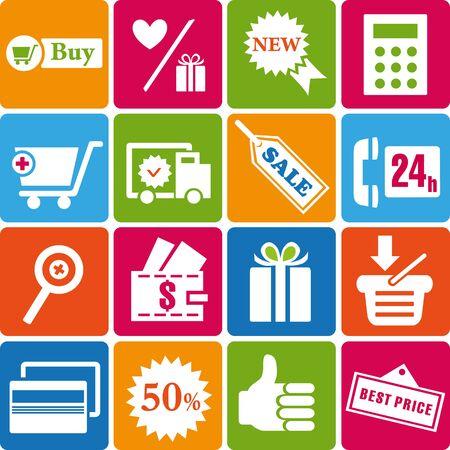 gift basket: Set of shopping icons Illustration